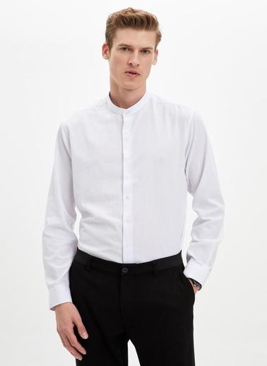 DeFacto Hakim Yaka Uzun Kol Slim Fit Gömlek Beyaz